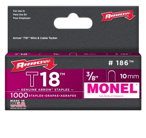 Arrow Fastener 186M T18 3/8 Inch (10mm) Monel Staples, 1000/Pk at Sears.com