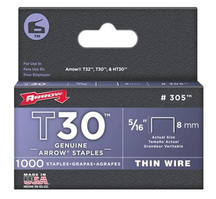 Arrow Fastener 305 T30 5/16 Inch (8mm) Staples, 1000/Pack at Sears.com